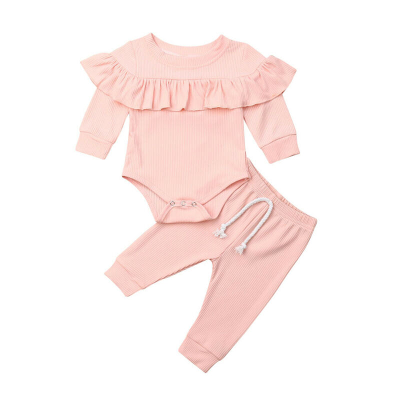 UK Newborn Infant Baby Girl Romper Tops Pants Clothes Outfit Jumpsuit Clothes
