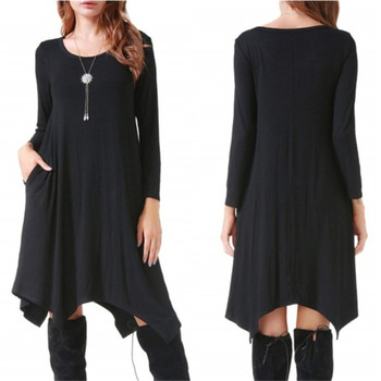 Lossky Women Cotton Dress Autumn Winter Long Sleeve Black Streetwear Pocket Solid Irregular Loose Plus Size Casual Dresses
