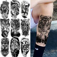 Временные татуировки с лесом, Тигром для мужчин, женщин, детей, череп льва, перекрестная татуировка, наклейка, черный компас, скелет, татуиро...