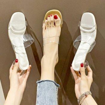 Novedad de 2020, novedad de verano, zapatos coreanos transparentes de cristal, Sandalias de tacón grueso, sandalias, zapatillas de mujer, ShoesZH100622