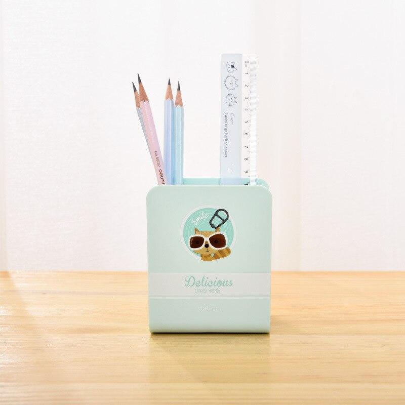 Deli 9126 Cartoon Students Pen Container Desktop Stationery Quadrilateral Pencil Block Creative Hipster Storage Finishing Box