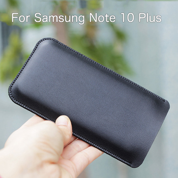 NOTE10+ Universal Fillet holster Phone Straight leather case retro simple style For Samsung Note 10 Plus pouch NOTE10 фото