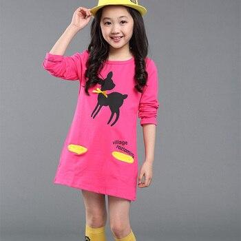 3-10Y Child Baby Girls Warm Dress Autumn/Winter Cartoon Long Sleeve Mini Stright Dresses Girls Fashion Dress Clothes