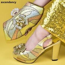 อิตาเลี่ยนสุภาพสตรีรองเท้าและกระเป๋า Match ชุดตกแต่ง Appliques สุภาพสตรีรองเท้าแตะรองเท้าส้นสูงไนจีเรียผู้หญิงรองเท้าแต่งงาน