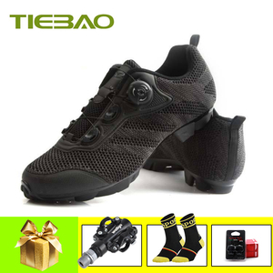 TIEBAO cycling shoes sapatilha ciclismo mtb SPD pedals Canvas upper self-locking breathable mtb outdoor mountain bike sneakers(China)