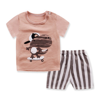 цена на Hot Sale Brand Boys Clothing Children Summer Boys girls Clothes cotton Cartoon Kids Boy Clothing Set T-shit+Pants FOR 70-120CM