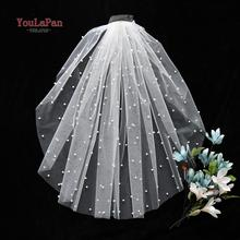 YouLaPan V05 40 CM Single Layer White Veil Yugioh Royal Pearl Veils for Brides Shoulder Length Veil Short Bridal Veil with Comb