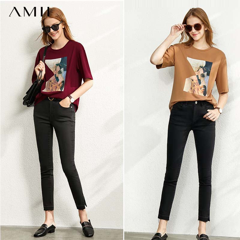 Amii Round Neck Printed Cotton Short Sleeve T-shirt Women's New 2020 Spring Summer Top 12020007