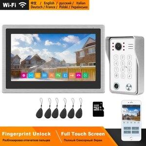 Image 1 - Беспроводной видеодомофон HomeFong для дома, IP видеодомофон с разблокировкой по отпечатку пальца, HD 10 дюймовый сенсорный экран, Wi Fi