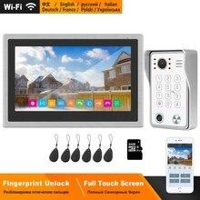홈퐁 무선 비디오 인터콤 홈 IP 비디오 초인종 지문 잠금 해제 HD 10 인치 터치 스크린 와이파이 인터콤 시스템 키트