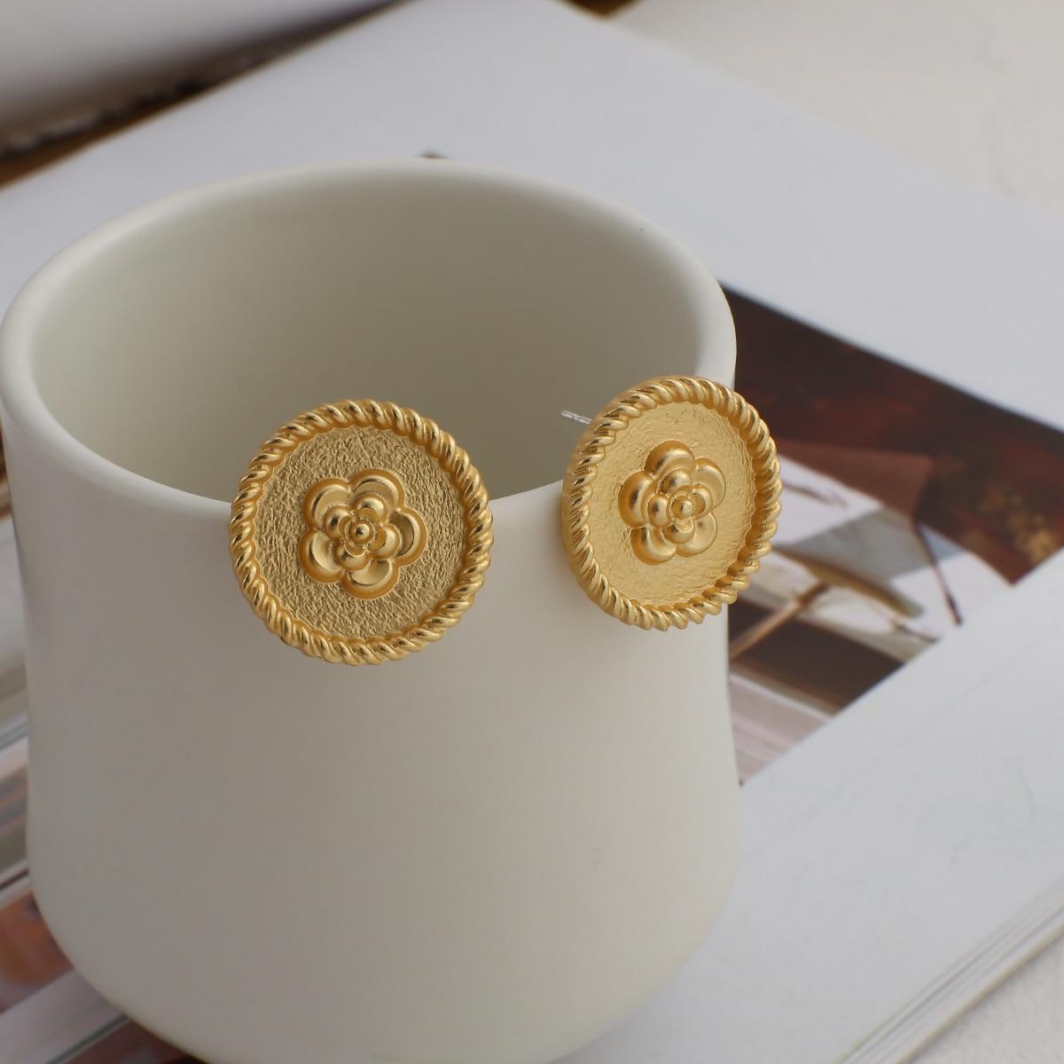AENSOA 2021 nuovi fiori rotondi Vintage grandi orecchini per donna moda temperamento colore oro grandi orecchini geometrici Brincos