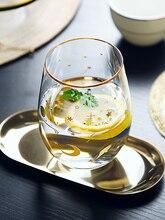 Star Printing Elegant Whiskey Glass Cup Wine Glass Mug Gold Inlay Whisky Glass Drinking Glasses Mug Milk Water Cups And Mugs