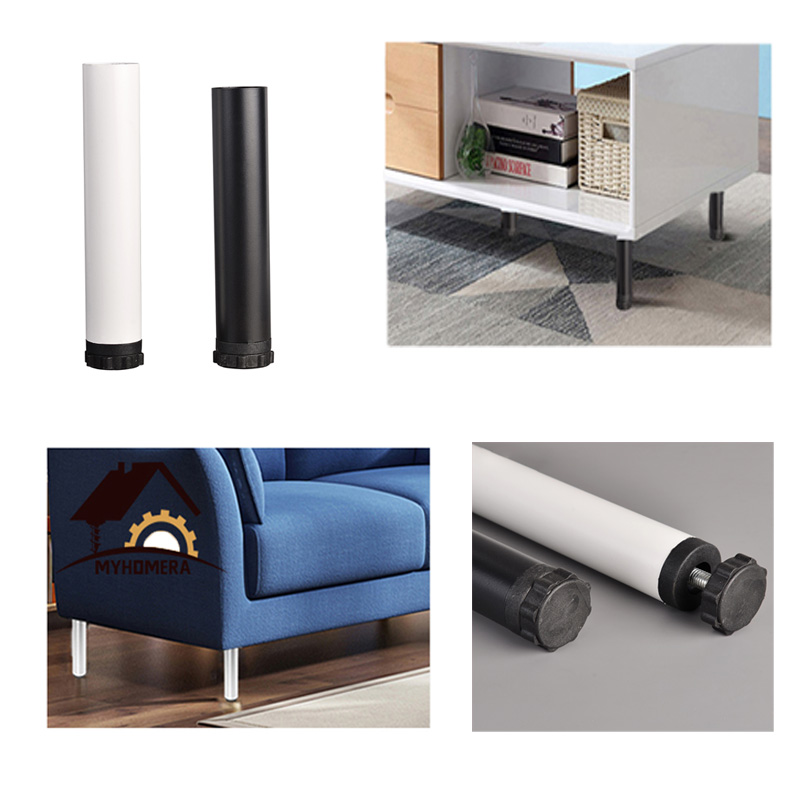Furniture Legs Adjustable White/Black Cold Rolled Steel Round Single Hole Furniture Legs Cabinet Table Sofa Bed Feet Accessories