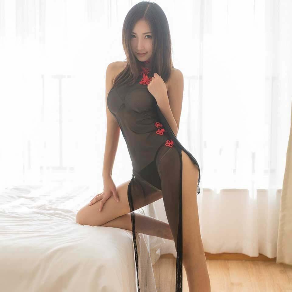 Ropa interior Sexy transparente Lencería pura mujer Sexy Cheongsam largo vestido chino Babydoll ropa interior Sexy camisón