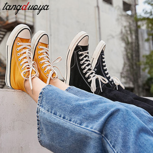 high top canvas shoes women classic canvas sneakers women lace up women casual shoes yellow white black zapatos de mujer