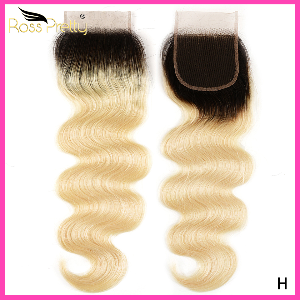 Rosspretty Hair Brazilian Body Wave Closure Swiss Lace #1B/613 Blonde Ombre Hair Free Part Human Hair Lace Closure 8