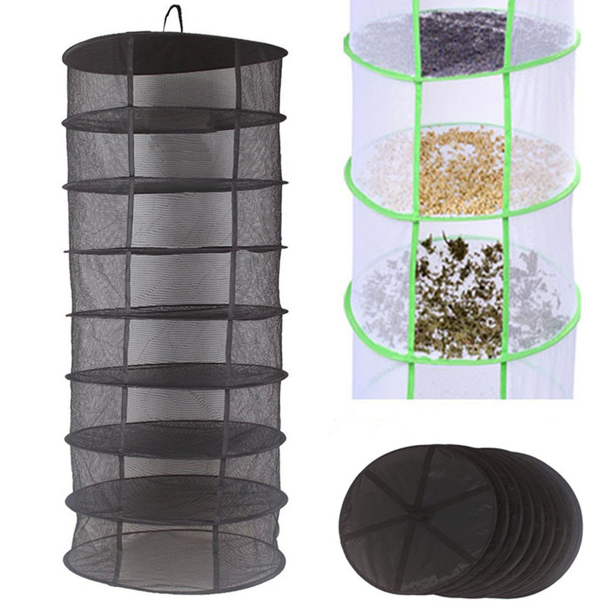 Hydroponic Herb Plant Bud Dryer Heavy Duty Folding Hanging 8 Tier Drying Rack Dry Shelf Net Clothes Laundry Basket Dryer 60cm