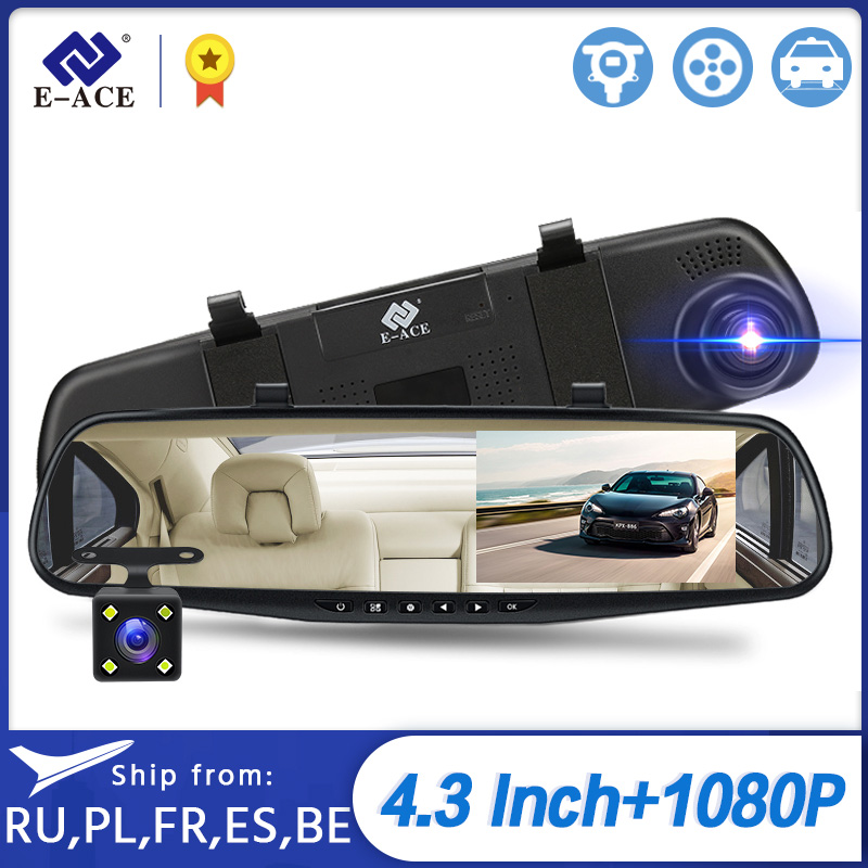 E-ACE A33 Mirror Dvr 4.3 Inch Dashcam FHD 1080P Automatic Camera Auto Registrar with Rear View Camera Video Recorder Car Dvrs