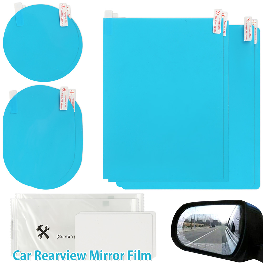 8Pcs set Waterproof Car Window Clear Rearview Mirror Protective Film Sticker Anti Fog Rainproof Protective Auto Accessories