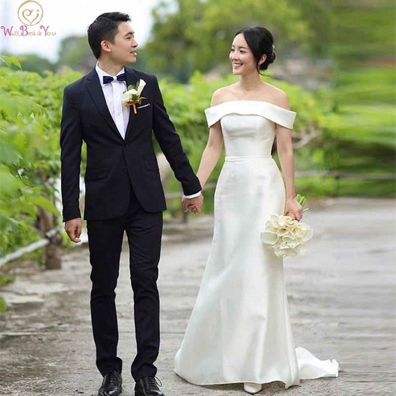 Mermaid Off The Shoulder Ivory Wedding Dresses 2019 New Elegant Korea Style Satin Bridal Gowns Off The Shoulder Vestido De Noiva