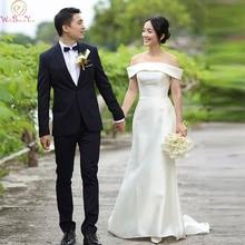 Mermaid Off The Shoulder Ivory Wedding Dresses 2019 New Elegant Korea Style Satin Bridal Gowns vestido de noiva