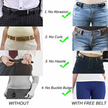 Women's Buckle-Free Elastic Belts Invisible Belt for Jeans No Bulge Hassle Band Fashion Casual Adjustable Button Canvas Belt 6
