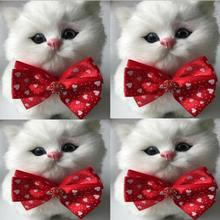 50pcs/Lot Big sale Girl Pet Dog puppy Cat red Bow Ties Neckties Bowknot  Valentine Lover Grooming Products LF01