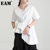 EAM-Camiseta blanca con volantes para mujer, camiseta con cordón Irregular, cuello redondo, manga corta, tendencia de moda, primavera y verano, 2021, 1DD9889