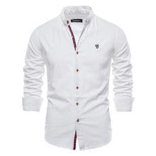 Negizber nova primavera algodão linho camisa masculina cor sólida alta qualidade camisa de manga longa para homens primavera casual camisas sociais