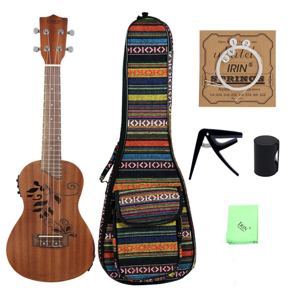 Mini chaîne de Capo ukulélé Soprano Cabasa avec sac en tissu accessoire avec Tuner LCD pour les amoureux du ukulélé
