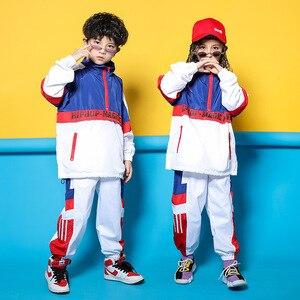 Image 2 - Детская синяя и белая куртка, штаны для бега, одежда в стиле хип хоп, костюм для джазовых танцев для девочек и мальчиков, уличная одежда для бальных танцев