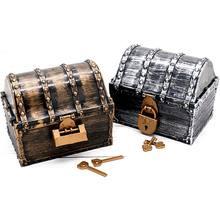 Pirata tesouro caixa pirata com 2 fechaduras festa favores crianças brinquedo menino presente