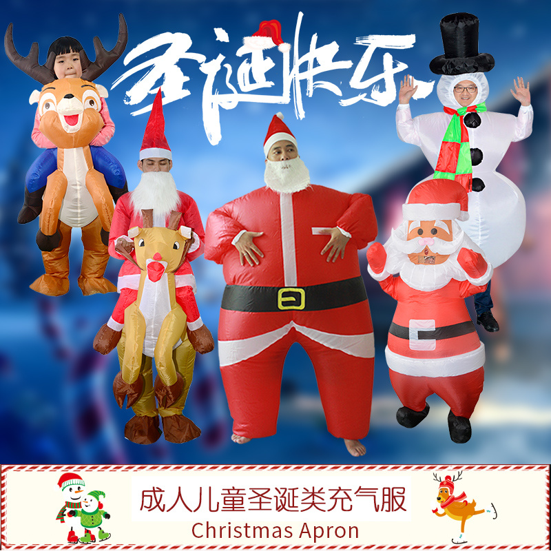 NEW Top Sale Advertising Inflatable Santa Father Snowman Jumpsuit Adults Blow Up Costume Dress Clothing Advertising New