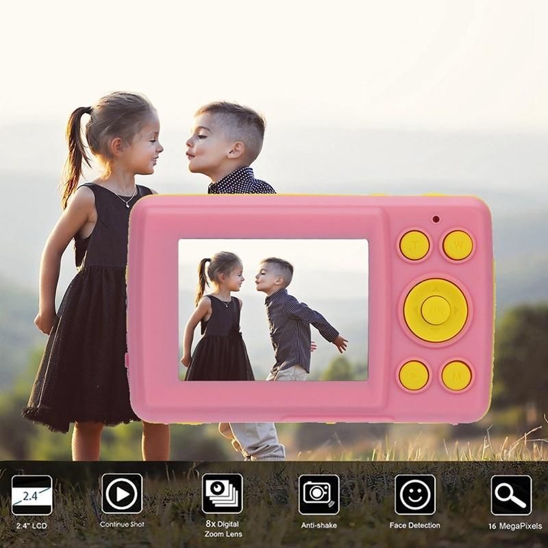 2.4HD Screen Digital Camera 16MP Anti-Shake Face Detection Camcorder Blank Point And Shoot Camera Digital Portable Cute Child(Pi