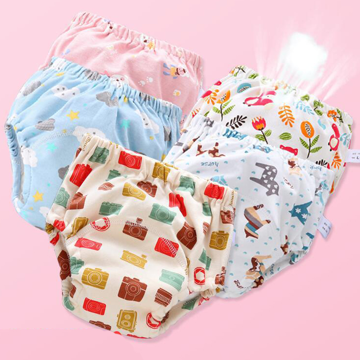 6PCS Waterproof Baby Cloth Diapers Reusable Washable Nappies Baby Diaper Pure Cotton 6 Layers Of Gauze Learning Training Pants