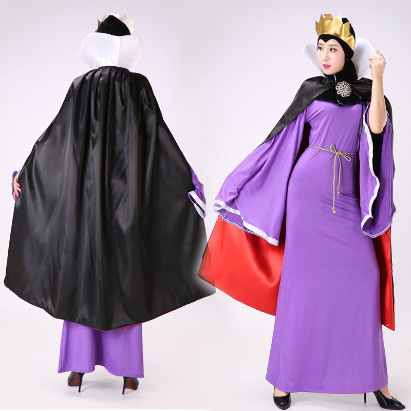 Halloween Adult Snow White And The Seven Dwarfs Women Bad Queen Costume Snow White Stepmother Dress With Cape Stage Dress