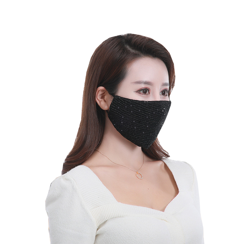 Sequin Ice Silk Mouth Mask Black Breathable Dustproof Face Masks Reusable Mask Cover Women Mouth-muffle Face Shield Filter Mask