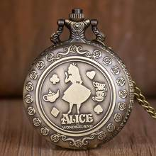 Antik Saku Alice In Wonderland Pola Memotong Fashion Retro Kalung Wanita Pocket & Fob Jam Tangan Hadiah Gadis TD2072(China)