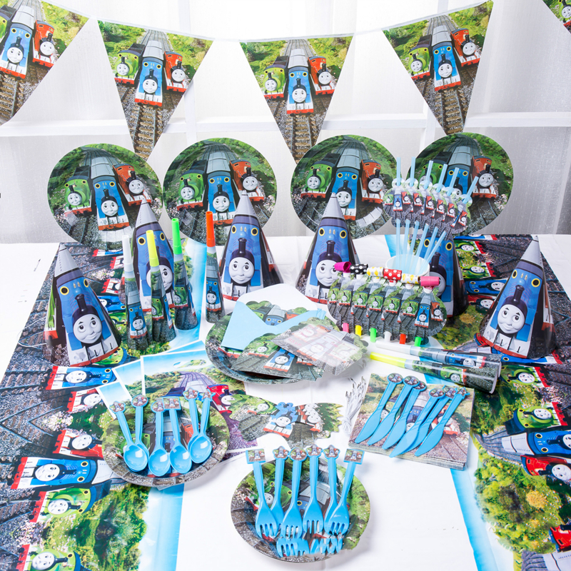 Thomas And Friends Birthday Party Decorations Kids Baby Shower Gift Bag Balloon Paper Cups Plates Disposable Tableware Supplies image
