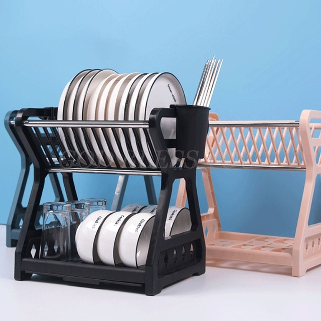 2021 New Double-layer Kitchen Dish Bowl Draining Storage Rack with Chopstick Cage Household Tableware Organizer Tray Box Basket 2