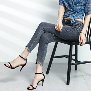 Image 3 - 2020 קיץ נשים של סנדלי נעלי אישה 8.5cm דק עקבים גבוהים פלוק מוצק קרסול רצועות צר אלגנטי קלאסי משרד ליידי משאבות