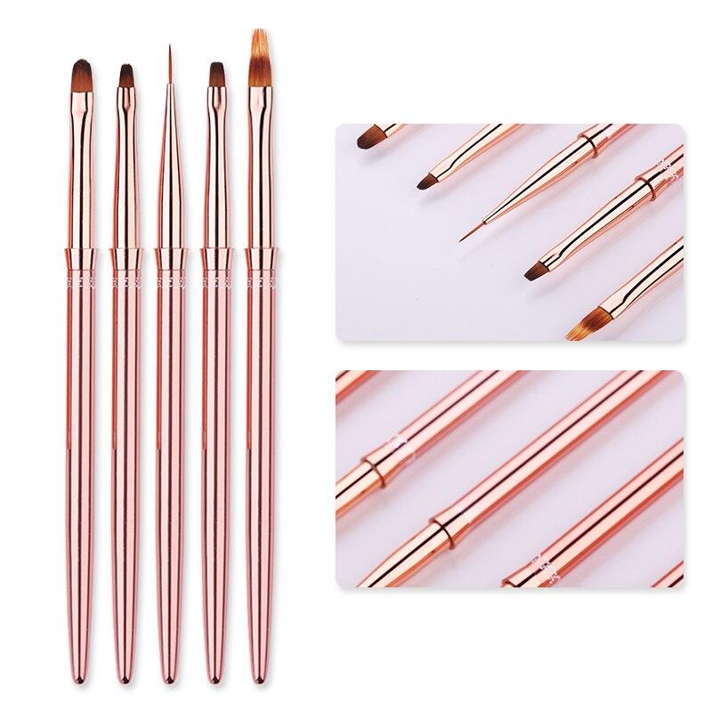 1 Pcs Rose Gold UV Gel Liner Painting Brush Portable Drawing Nail Brush Pen Handle Manicure Nail Art Tool