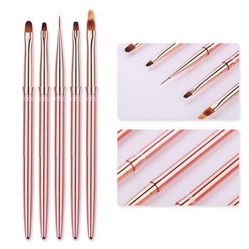 1 Pcs Rose Gold UV Gel Liner Painting Brush Portable Drawing Nail Brush Pen Handle  Nail Art Tool