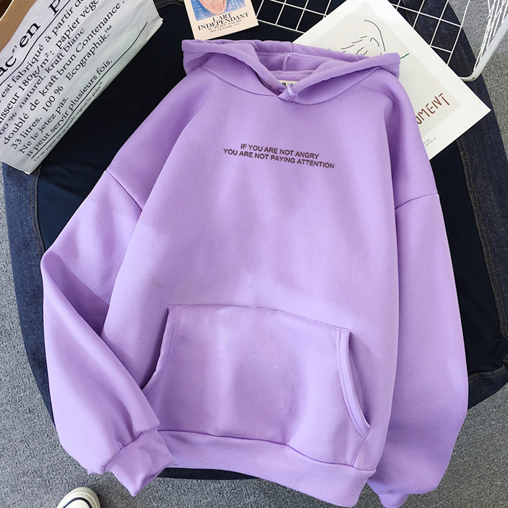 Funny Letter  Oversized Hoodies Women Sweatshirts Harajuku Hooded Sweats Long Sleeve Autumn Warm Women's Clothing Teens Girls