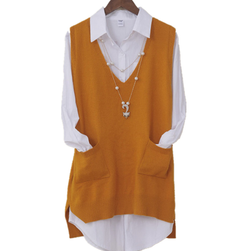Kpop Plus Size Spring Vest Korean Long V-neck Knitted Vest Fashion Sleeveless Girl Vest  2020 New Knitted Women Pullover OK127