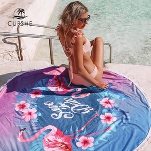 Image 2 - CUPSHE nadruk w stylu boho ręczniki plażowe 2020 damskie wakacje z mikrofibry obszycie dookoła ręcznik kąpielowy z pomponem 8 stylów