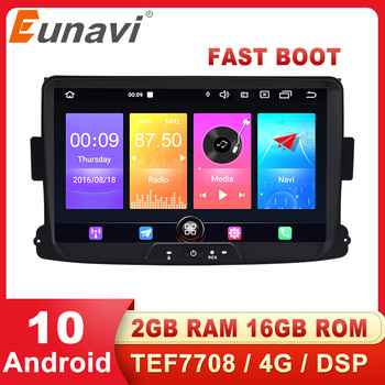 Eunavi DSP Android 10 Car Multimedia player GPS For Dacia Sandero Duster Renault Captur Lada Xray 2 Logan 2 Auto Audio Radio 4G image
