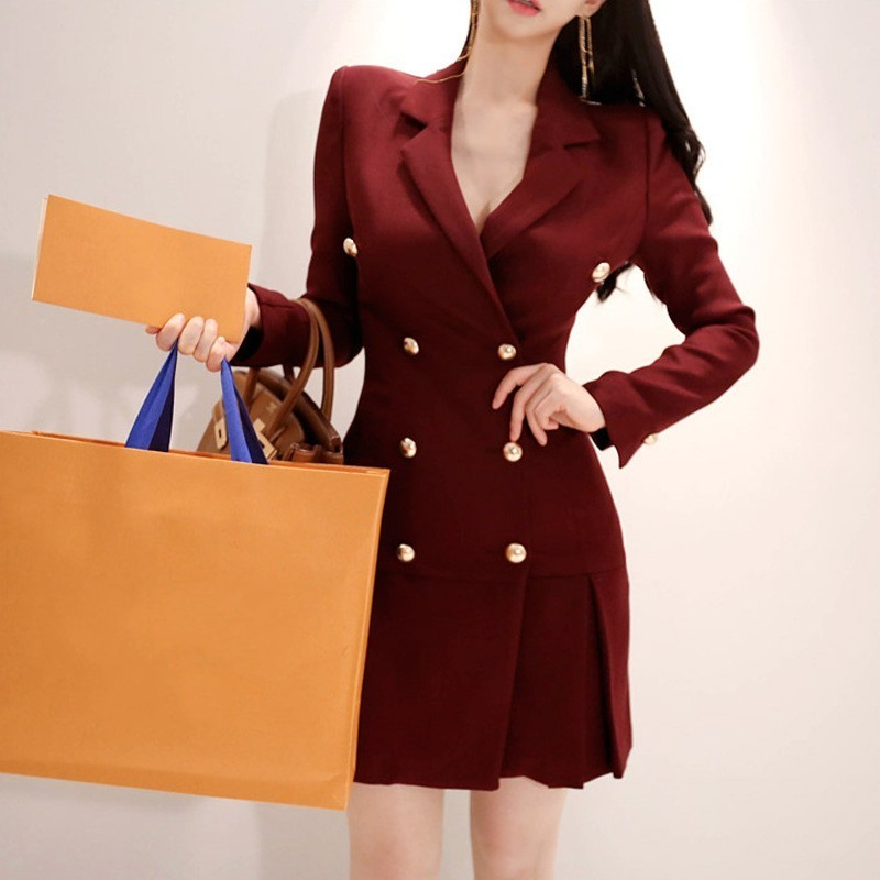 Fashion Women Double Breasted Long Blazer Jacket Sexy Outwear Suit Vestido Office Ladies Elegant Business Work Suits Blazer Coat