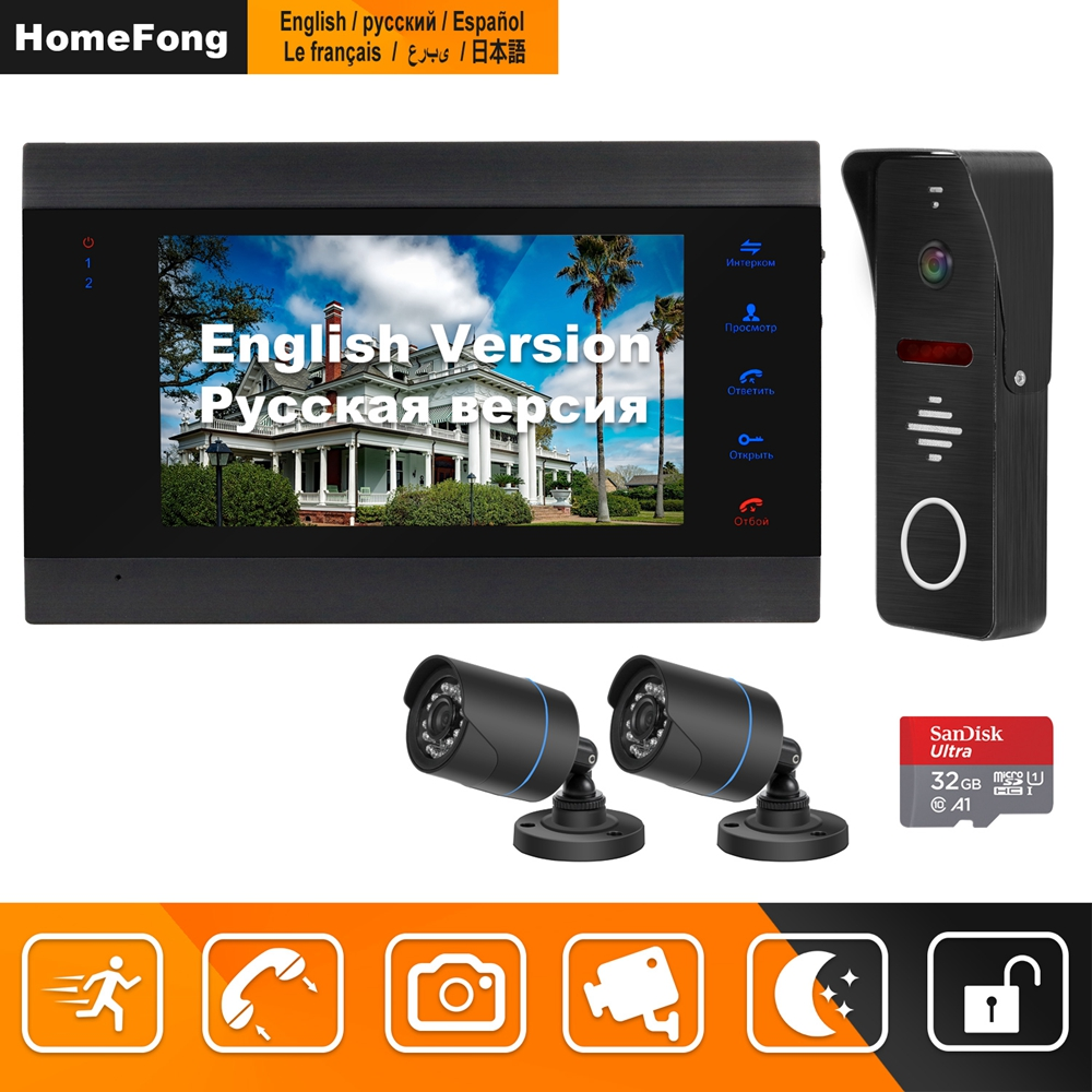 HomeFong Wired Video Doorbell for Home Intercom with 2 Cameras Support Infrared Night Vision Motion Sensor Video Intercom System