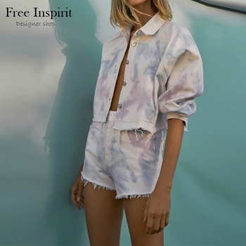 Women's Sexy Style Cowboy Tie-dyed Suit Single Breasted Turn-down Collar Summer 1